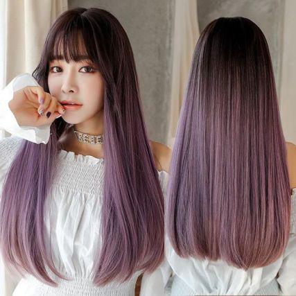 potongan rambut perempuan - panjang dengan poni depan