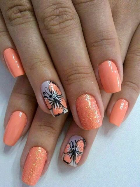 warna kutek yang bagus - orange motif