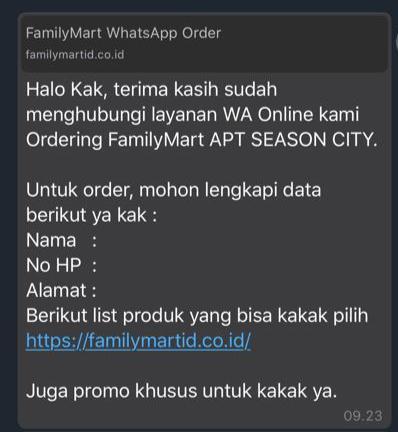 FamilyMart Whatsapp