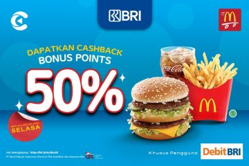 cashbac mcdonald's bri direct debit 50% selasa