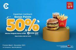 cashbac mcdonald's ocbc 50% kamis