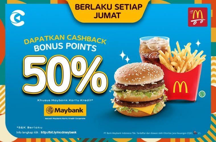 cashbac mcdonald's maybank 50% jumat