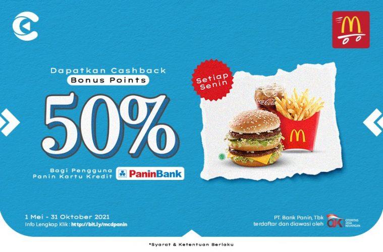cashbac mcdonald's panin 50% senin
