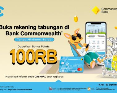 cashbac commonwealth apply rekening